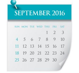 Simple calendar for September 2016