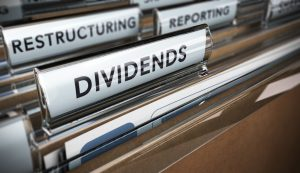 File tab with focus on the word dividends. Conceptual image for illustration of company restructuring plan and dividend.