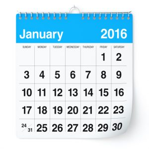 January 2016 - Calendar. Isolated on White, Background. 3D Rendering