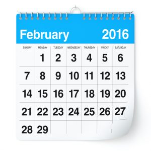 February 2016 - Calendar. Isolated on White, Background. 3D Rendering