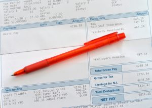 A scool teachers wages slip section with a red coloured pen laying accros the page.