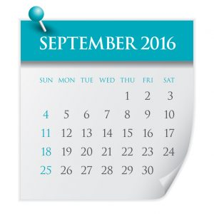 Simple calendar for September 2016